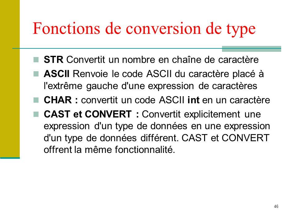 46 Fonctions de conversion de type STR Convertit un nombre en chaîne de caractère ASCII Renvoie le code ASCII du caractère placé à l'extrême gauche d'
