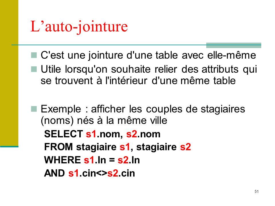 51 Lauto-jointure C'est une jointure d'une table avec elle-même Utile lorsqu'on souhaite relier des attributs qui se trouvent à l'intérieur d'une même