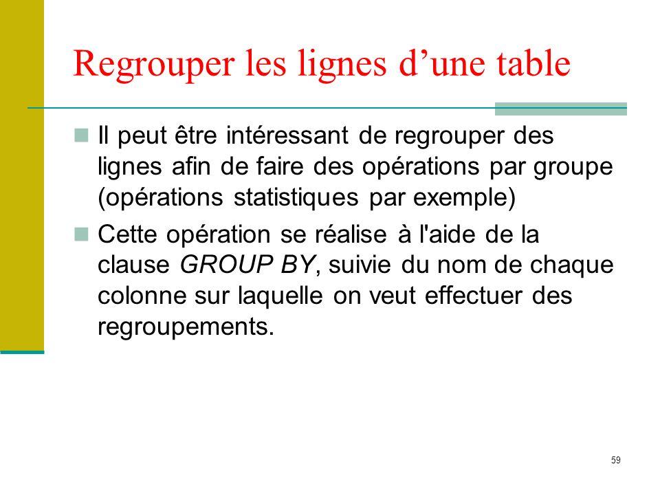 59 Regrouper les lignes dune table Il peut être intéressant de regrouper des lignes afin de faire des opérations par groupe (opérations statistiques p