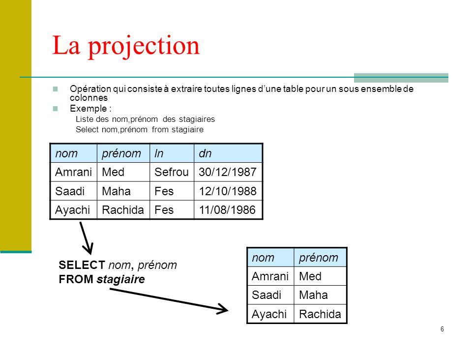 6 La projection Opération qui consiste à extraire toutes lignes dune table pour un sous ensemble de colonnes Exemple : Liste des nom,prénom des stagia
