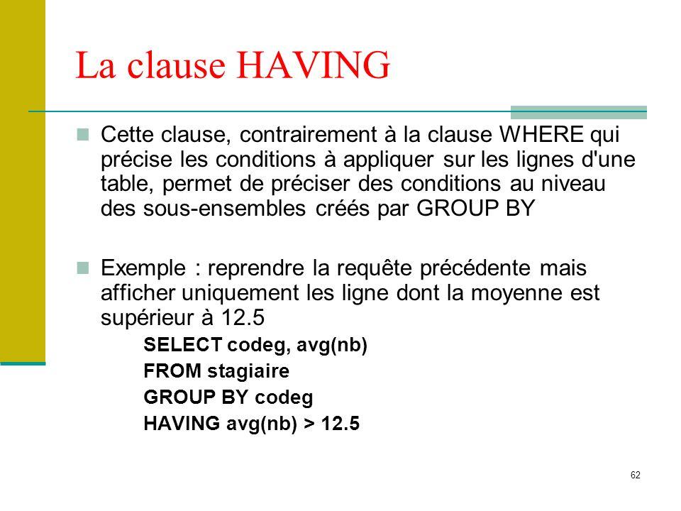 62 La clause HAVING Cette clause, contrairement à la clause WHERE qui précise les conditions à appliquer sur les lignes d'une table, permet de précise