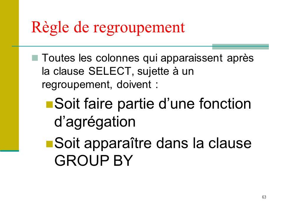 63 Règle de regroupement Toutes les colonnes qui apparaissent après la clause SELECT, sujette à un regroupement, doivent : Soit faire partie dune fonc