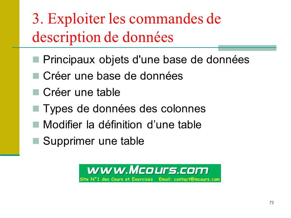 73 3. Exploiter les commandes de description de données Principaux objets d'une base de données Créer une base de données Créer une table Types de don