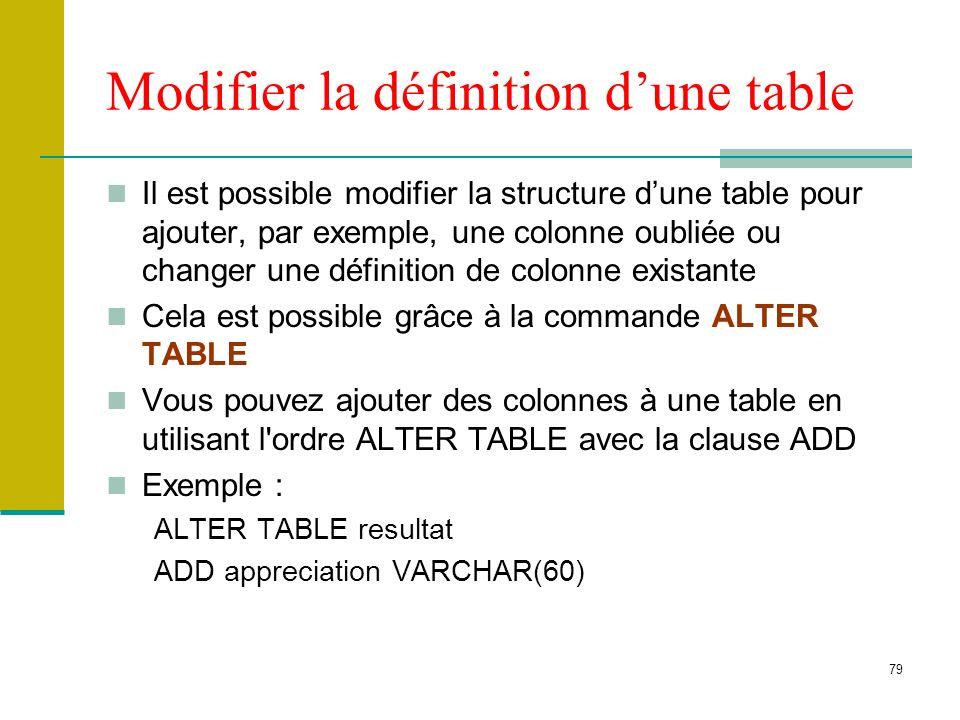 79 Modifier la définition dune table Il est possible modifier la structure dune table pour ajouter, par exemple, une colonne oubliée ou changer une dé