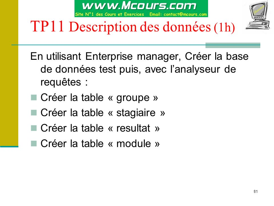 81 TP11 Description des données (1h) En utilisant Enterprise manager, Créer la base de données test puis, avec lanalyseur de requêtes : Créer la table
