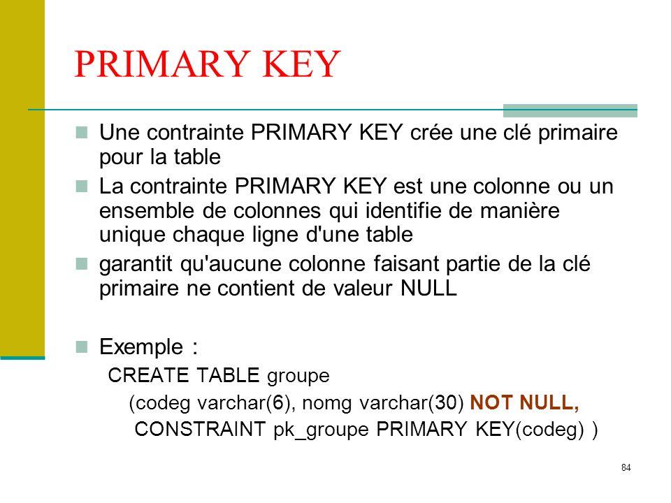 85 FOREIGN KEY La contrainte FOREIGN KEY, ou contrainte d intégrité référentielle, désigne une colonne ou une combinaison de colonnes comme étant une clé étrangère établit une relation avec une clé primaire Exemple : CREATE TABLE stagiaire (cin varchar(12), nom varchar(30), …, codeg varchar(6), CONSTRAINT pk_stagiaire PRIMARY KEY (cin), CONSTRAINT fk_groupe FOREIGN KEY (codeg) REFERENCES groupe(codeg) ON DELETE NO ACTION ON UPDATE CASCADE )