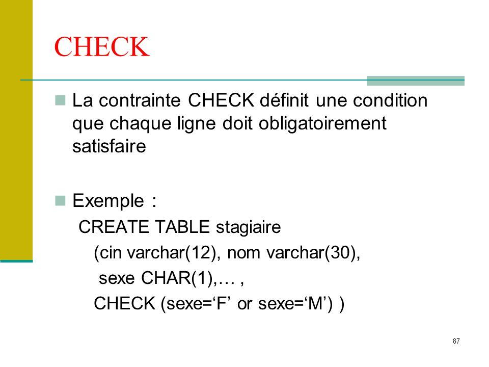 87 CHECK La contrainte CHECK définit une condition que chaque ligne doit obligatoirement satisfaire Exemple : CREATE TABLE stagiaire (cin varchar(12),