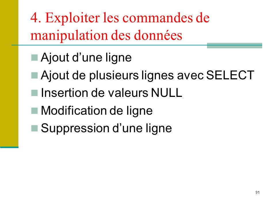 91 4. Exploiter les commandes de manipulation des données Ajout dune ligne Ajout de plusieurs lignes avec SELECT Insertion de valeurs NULL Modificatio