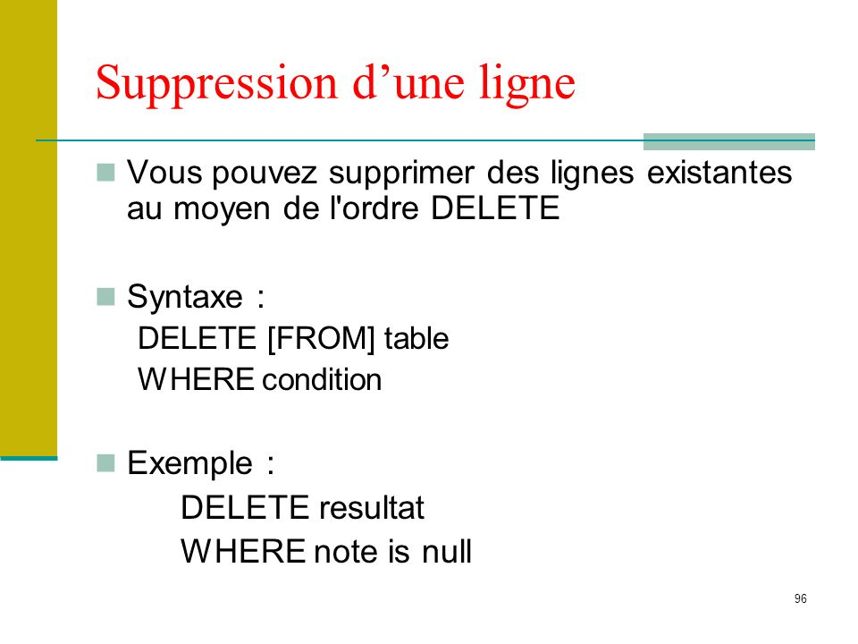 96 Suppression dune ligne Vous pouvez supprimer des lignes existantes au moyen de l'ordre DELETE Syntaxe : DELETE [FROM] table WHERE condition Exemple