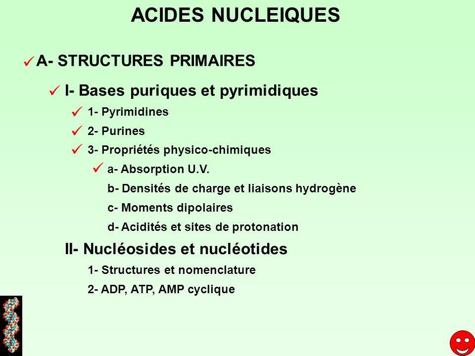 ACIDES NUCLEIQUES A- STRUCTURES PRIMAIRES I- Bases puriques et pyrimidiques II- Nucléosides et nucléotides 1- Pyrimidines 2- Purines 3- Propriétés phy