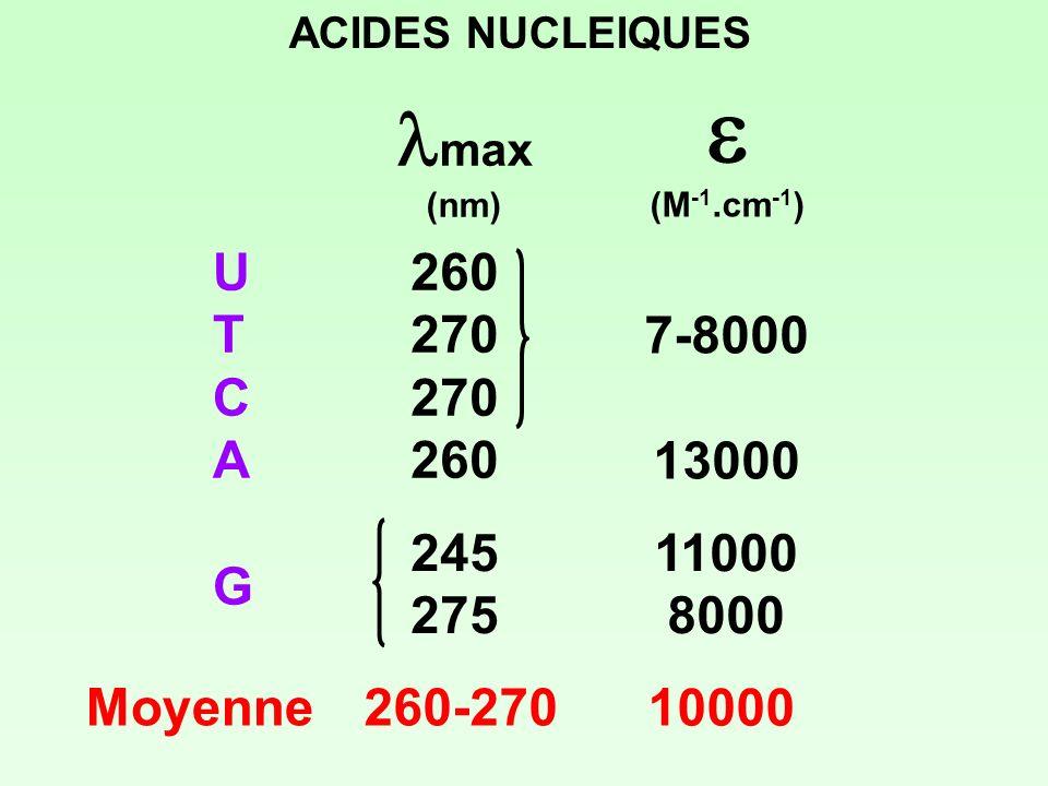 ACIDES NUCLEIQUES max (nm) (M -1.cm -1 ) UTCAGUTCAG 260 270 260 245 275 7-8000 13000 11000 8000 Moyenne260-270 10000