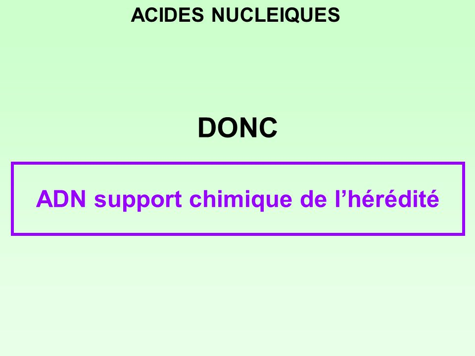nucléotides pyrimidiques désoxycytosine-5-monophosphate (dCMP) désoxythymidine-5-monophosphate (dTMP) 1 23 4 5 CH 2 HOH O P O OH O 1 2 3 4 5 6 H3CH3C O 1 23 4 5 CH 2 HOH O P O OH O 3 2 1 6 5 4 NH 2 O O H - - ACIDES NUCLEIQUES N N O N N O