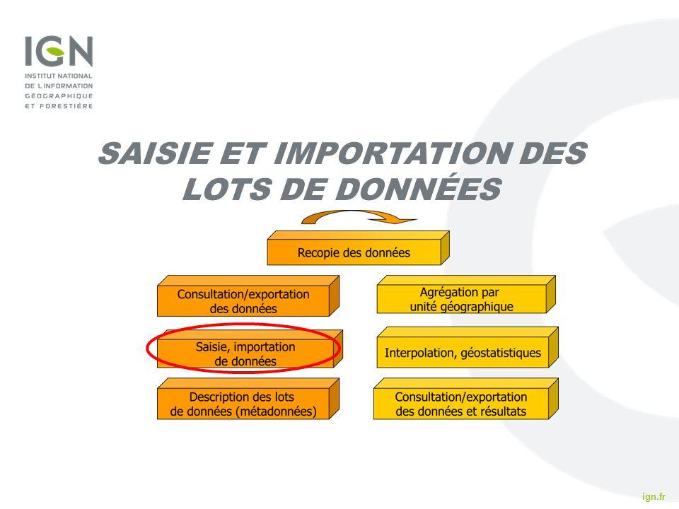 ign.fr IFN 2010 SAISIE ET IMPORTATION DES LOTS DE DONNÉES