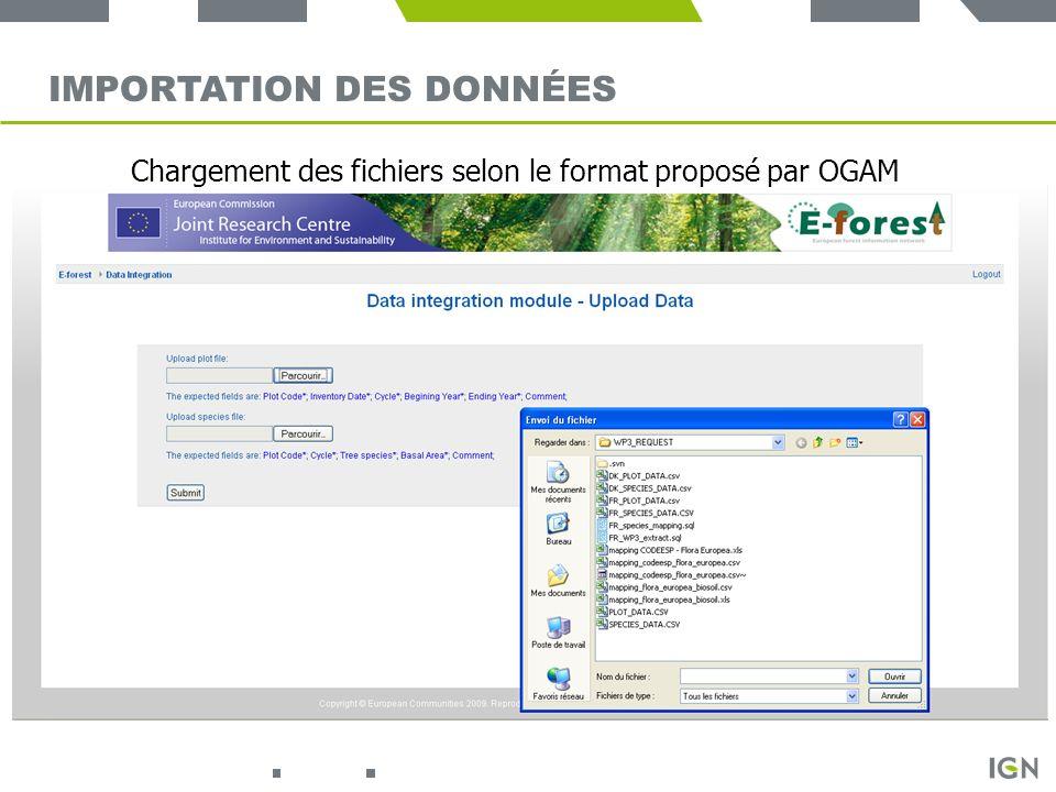 14 IMPORTATION DES DONNÉES Chargement des fichiers selon le format proposé par OGAM