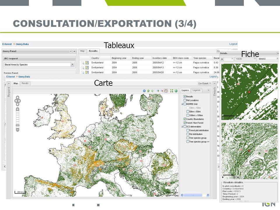 19 CONSULTATION/EXPORTATION (3/4) Tableaux Carte Fiche