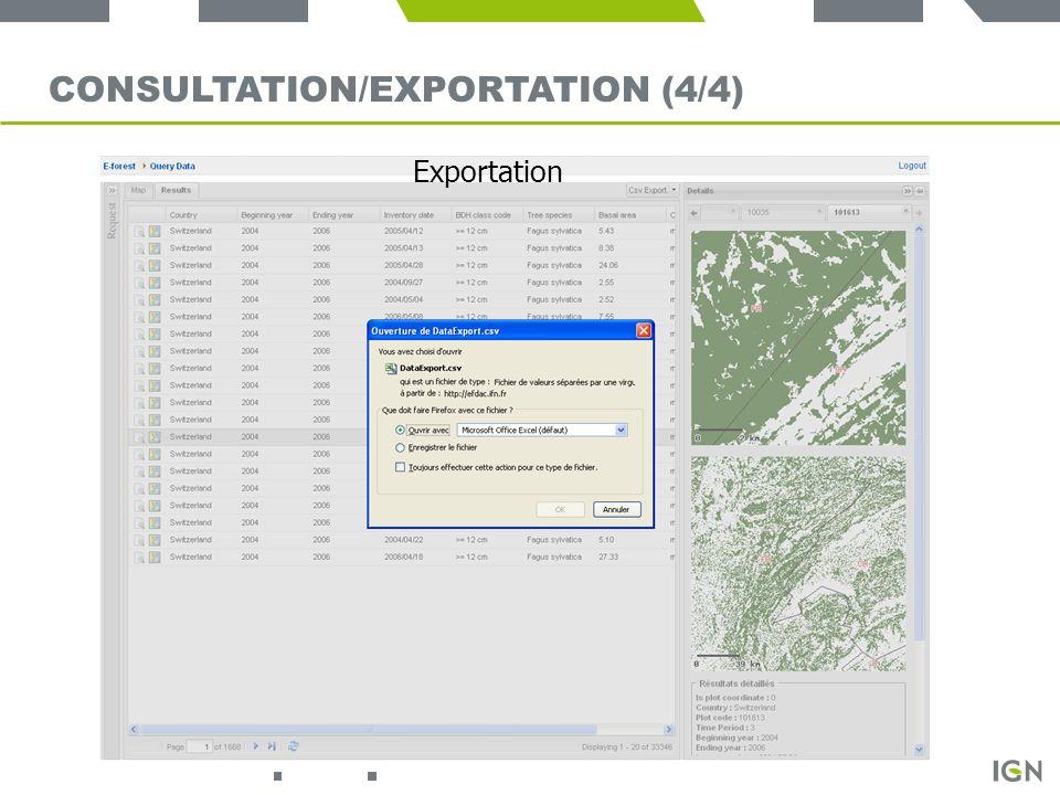 20 CONSULTATION/EXPORTATION (4/4) Exportation