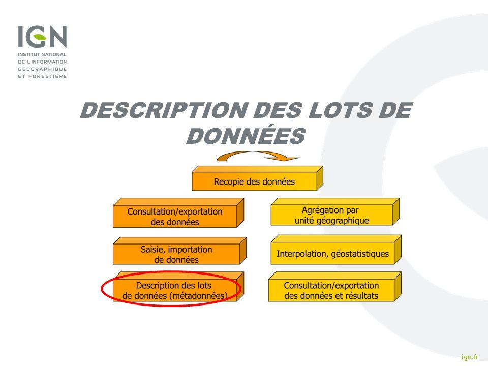 ign.fr IFN 2010 DESCRIPTION DES LOTS DE DONNÉES