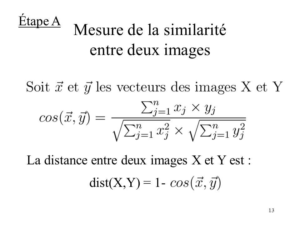 12 Représentation textuelle des images : le modèle vectoriel Salton, 1971 Une image est représentée par un vecteur des mot-clés Exemple : Soit une image I telle que Terme(I)={Radio} –Vecteur(I)=(0,1,0) –Vecteur_etendu(I)=(1,1,0) Média(1) Radio(2)Télévision(3) Thésaurus Étape A