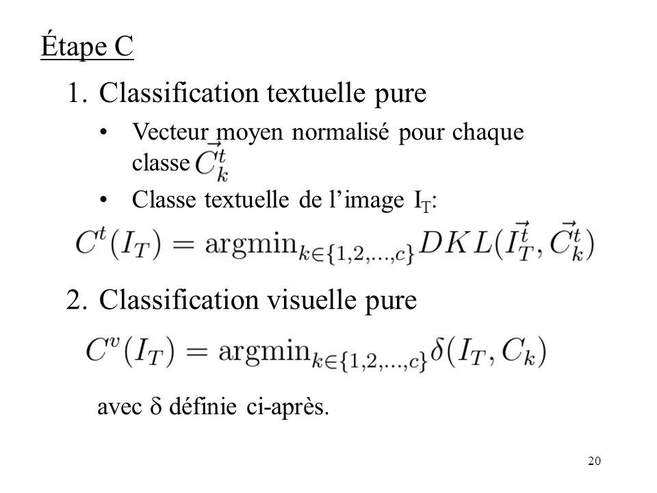 19 Distance de Kullback-Leibler(1951) deux distributions de probabilités Soit x et y deux distributions de probabilités Divergence de Kullback-Leibler : Distance de Kullback-Leibler : Étape C