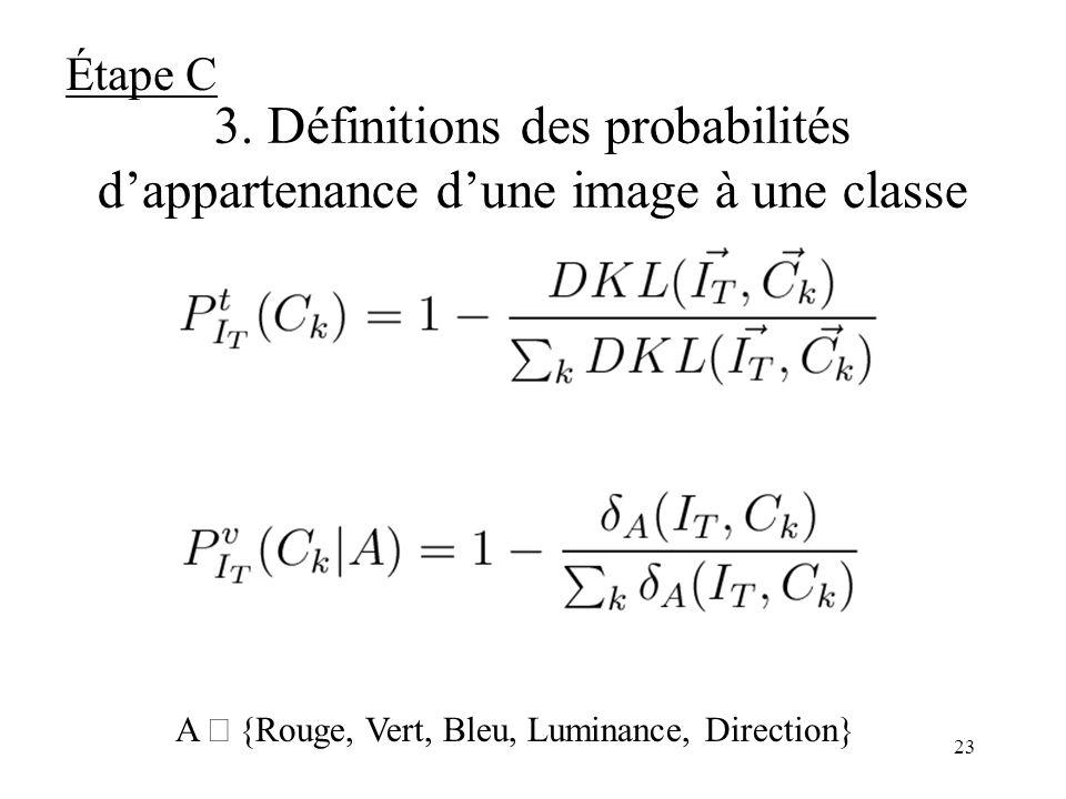 22 3. « Fusion tardive » visuo-textuelle Probabilité dappartenance de limage I T à la classe C k par fusion des probabilités textuelles et visuelles :