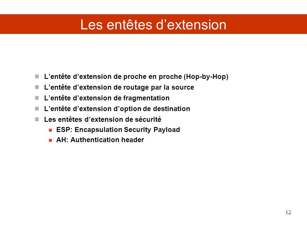 Les entêtes dextension Lentête dextension de proche en proche (Hop-by-Hop) Lentête dextension de routage par la source Lentête dextension de fragmenta