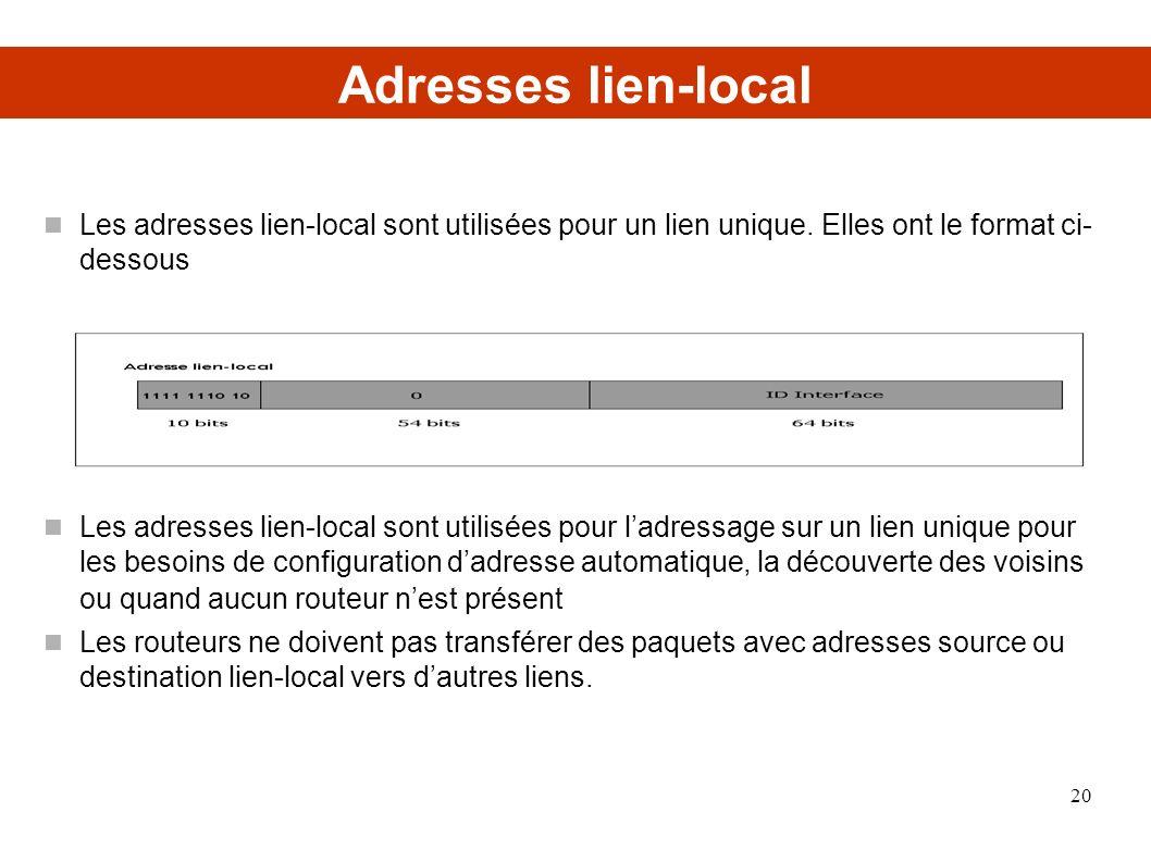 Adresses lien-local Les adresses lien-local sont utilisées pour un lien unique. Elles ont le format ci- dessous Les adresses lien-local sont utilisées