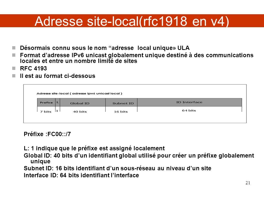 Adresse site-local(rfc1918 en v4) Désormais connu sous le nom adresse local unique» ULA Format dadresse IPv6 unicast globalement unique destiné à des communications locales et entre un nombre limité de sites RFC 4193 Il est au format ci-dessous Préfixe :FC00::/7 L: 1 indique que le préfixe est assigné localement Global ID: 40 bits dun identifiant global utilisé pour créer un préfixe globalement unique Subnet ID: 16 bits identifiant dun sous-réseau au niveau dun site Interface ID: 64 bits identifiant linterface 21