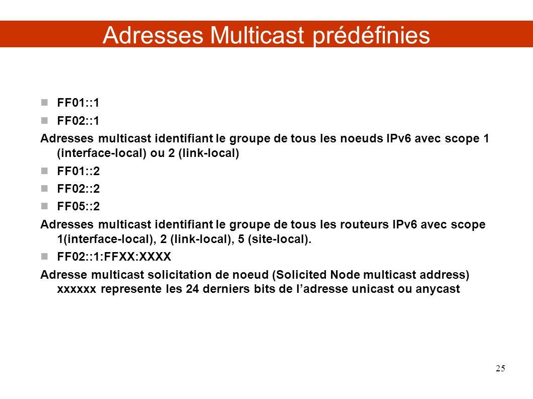 Adresses Multicast prédéfinies FF01::1 FF02::1 Adresses multicast identifiant le groupe de tous les noeuds IPv6 avec scope 1 (interface-local) ou 2 (link-local) FF01::2 FF02::2 FF05::2 Adresses multicast identifiant le groupe de tous les routeurs IPv6 avec scope 1(interface-local), 2 (link-local), 5 (site-local).