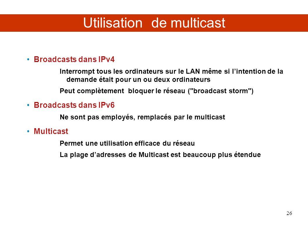 Utilisation de multicast Broadcasts dans IPv4 Interrompt tous les ordinateurs sur le LAN même si lintention de la demande était pour un ou deux ordinateurs Peut complètement bloquer le réseau ( broadcast storm ) Broadcasts dans IPv6 Ne sont pas employés, remplacés par le multicast Multicast Permet une utilisation efficace du réseau La plage dadresses de Multicast est beaucoup plus étendue 26