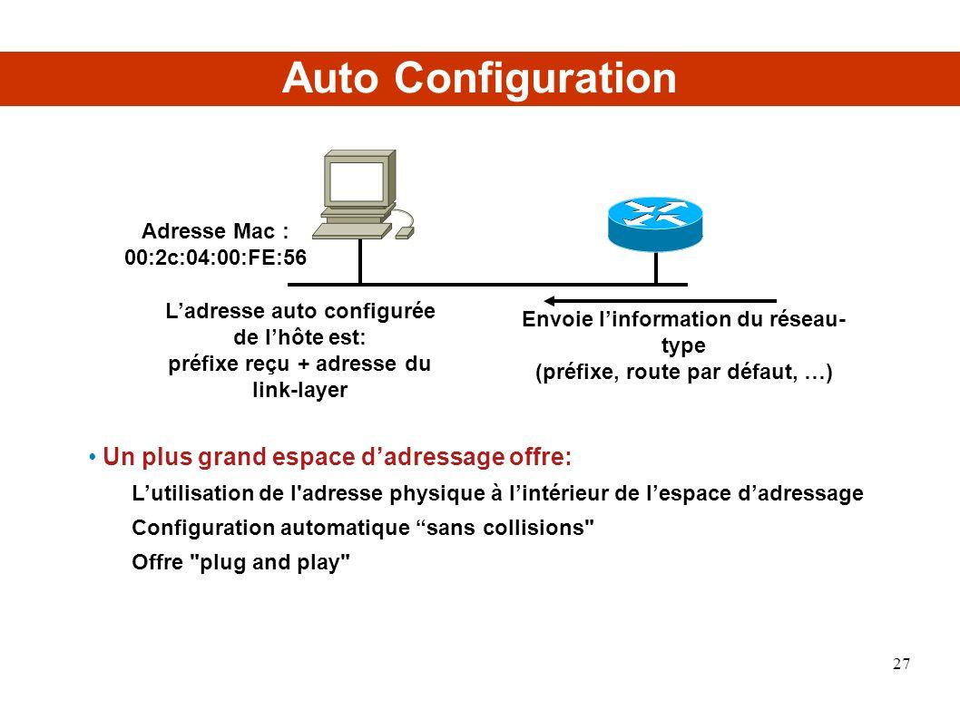 Auto Configuration Un plus grand espace dadressage offre: Lutilisation de l adresse physique à lintérieur de lespace dadressage Configuration automatique sans collisions Offre plug and play Envoie linformation du réseau- type (préfixe, route par défaut, …) Ladresse auto configurée de lhôte est: préfixe reçu + adresse du link-layer Adresse Mac : 00:2c:04:00:FE:56 27