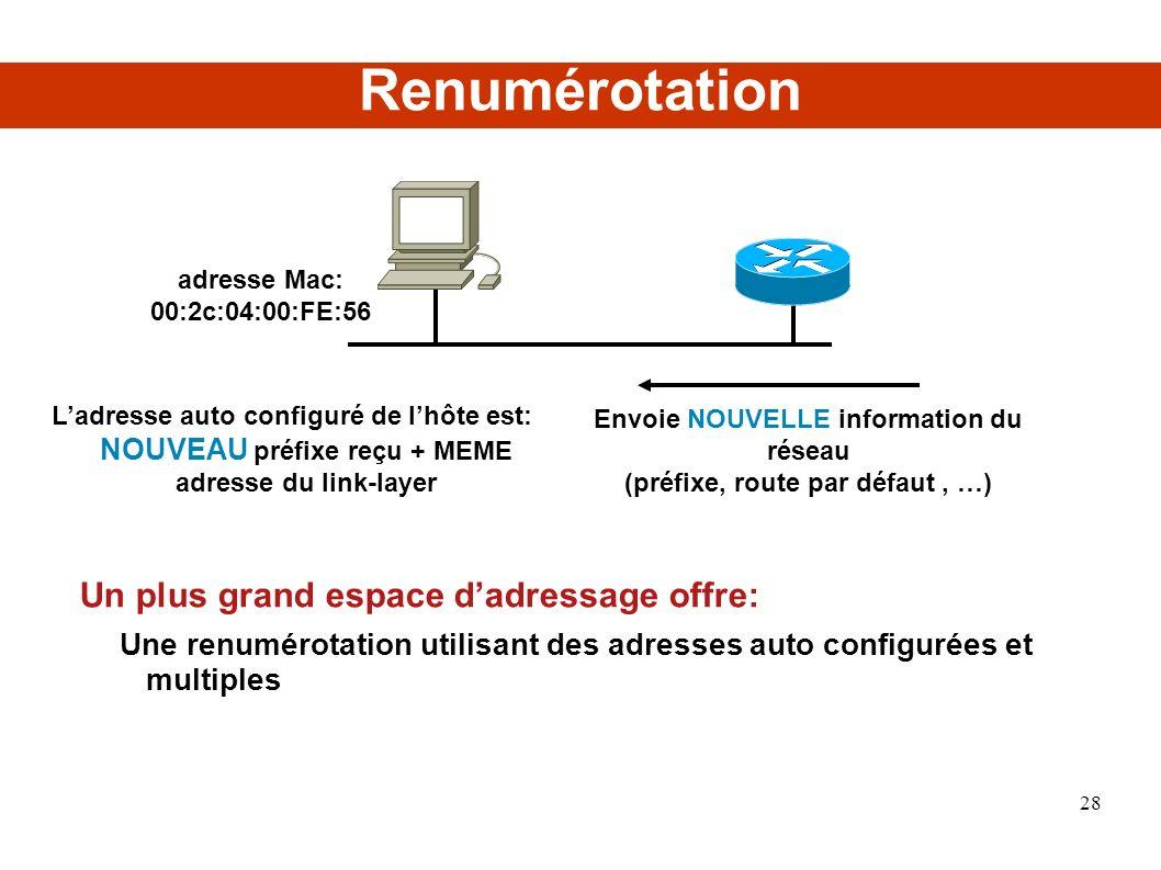Renumérotation Un plus grand espace dadressage offre: Une renumérotation utilisant des adresses auto configurées et multiples Envoie NOUVELLE information du réseau (préfixe, route par défaut, …) Ladresse auto configuré de lhôte est: NOUVEAU préfixe reçu + MEME adresse du link-layer adresse Mac: 00:2c:04:00:FE:56 28