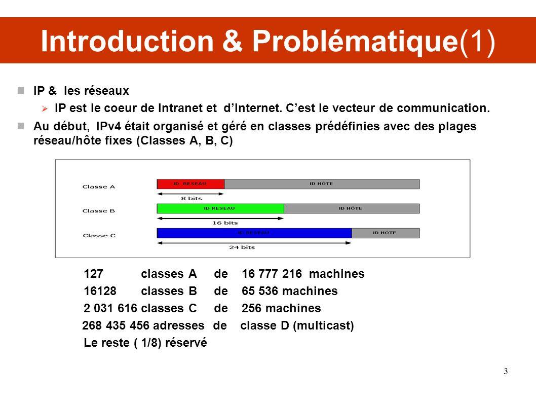 Introduction & Problématique(1) IP & les réseaux IP est le coeur de Intranet et dInternet. Cest le vecteur de communication. Au début, IPv4 était orga