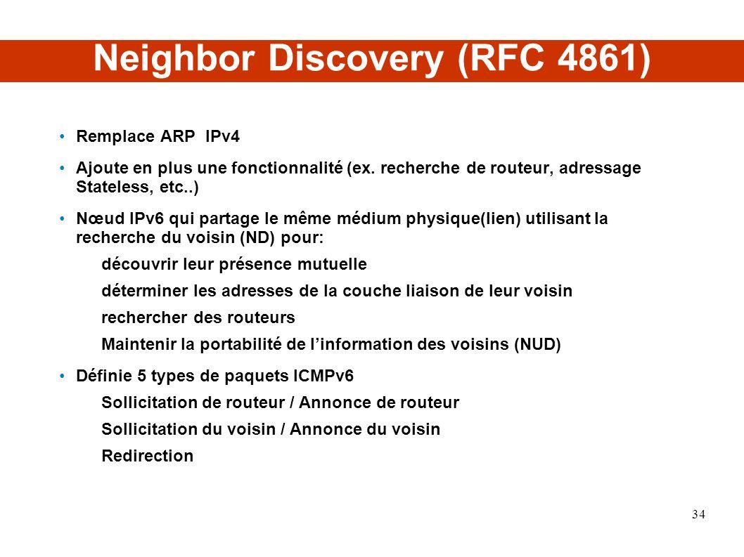 Neighbor Discovery (RFC 4861) Remplace ARP IPv4 Ajoute en plus une fonctionnalité (ex. recherche de routeur, adressage Stateless, etc..) Nœud IPv6 qui
