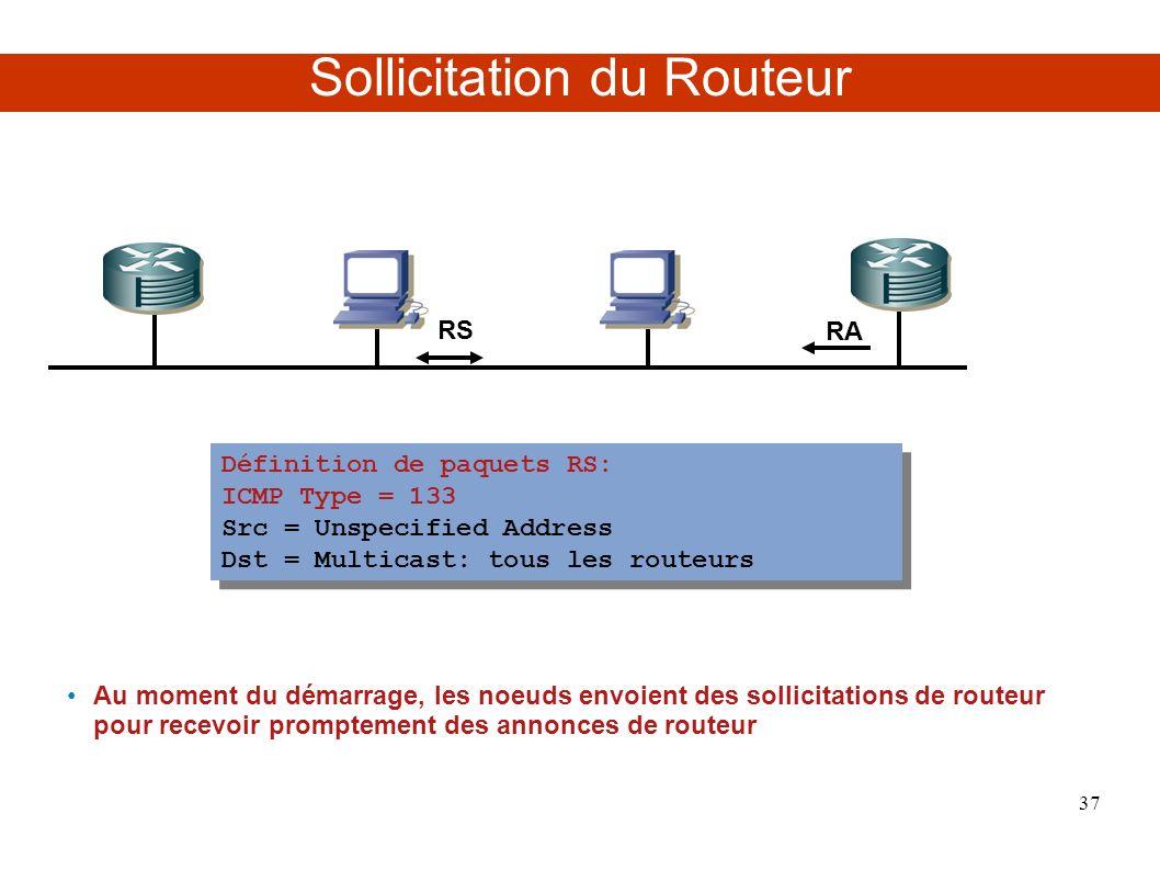 Sollicitation du Routeur RS RA Au moment du démarrage, les noeuds envoient des sollicitations de routeur pour recevoir promptement des annonces de routeur Définition de paquets RS: ICMP Type = 133 Src = Unspecified Address Dst = Multicast: tous les routeurs Définition de paquets RS: ICMP Type = 133 Src = Unspecified Address Dst = Multicast: tous les routeurs 37