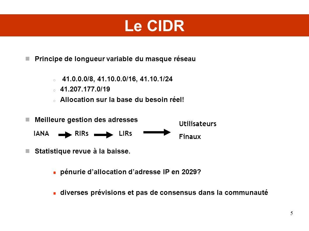 Le CIDR Principe de longueur variable du masque réseau o 41.0.0.0/8, 41.10.0.0/16, 41.10.1/24 o 41.207.177.0/19 o Allocation sur la base du besoin rée