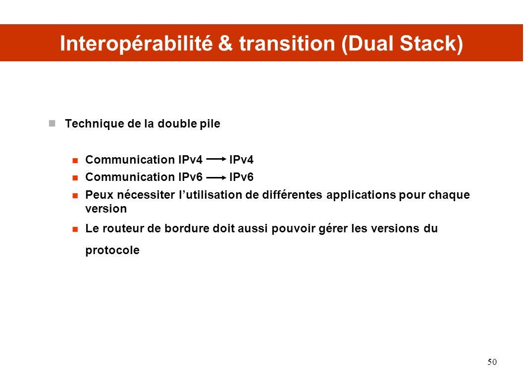 Interopérabilité & transition (Dual Stack) Technique de la double pile Communication IPv4 IPv4 Communication IPv6 IPv6 Peux nécessiter lutilisation de différentes applications pour chaque version Le routeur de bordure doit aussi pouvoir gérer les versions du protocole 50