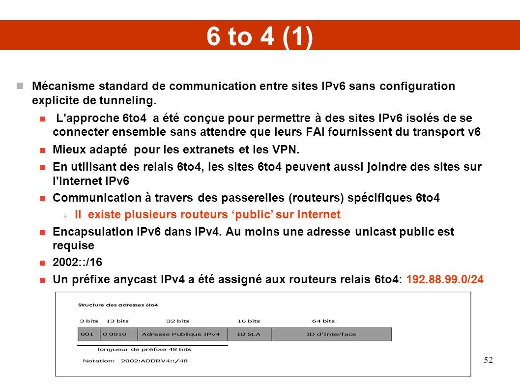 6 to 4 (1) Mécanisme standard de communication entre sites IPv6 sans configuration explicite de tunneling. L'approche 6to4 a été conçue pour permettre