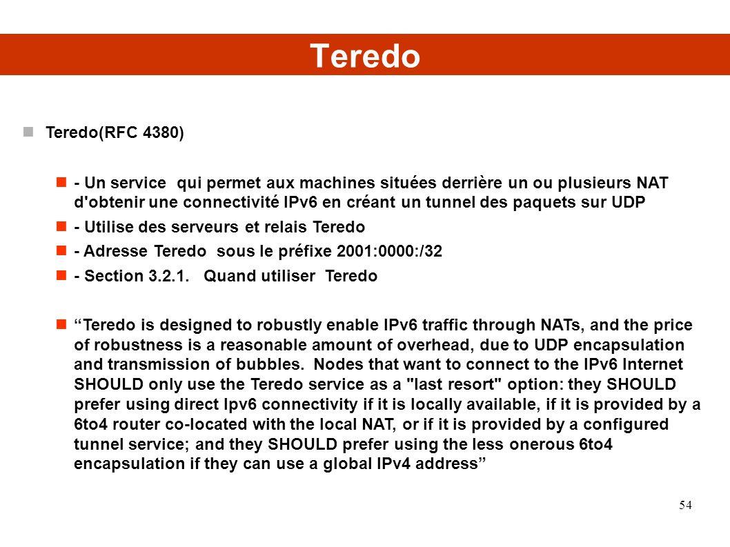 Teredo Teredo(RFC 4380) - Un service qui permet aux machines situées derrière un ou plusieurs NAT d obtenir une connectivité IPv6 en créant un tunnel des paquets sur UDP - Utilise des serveurs et relais Teredo - Adresse Teredo sous le préfixe 2001:0000:/32 - Section 3.2.1.