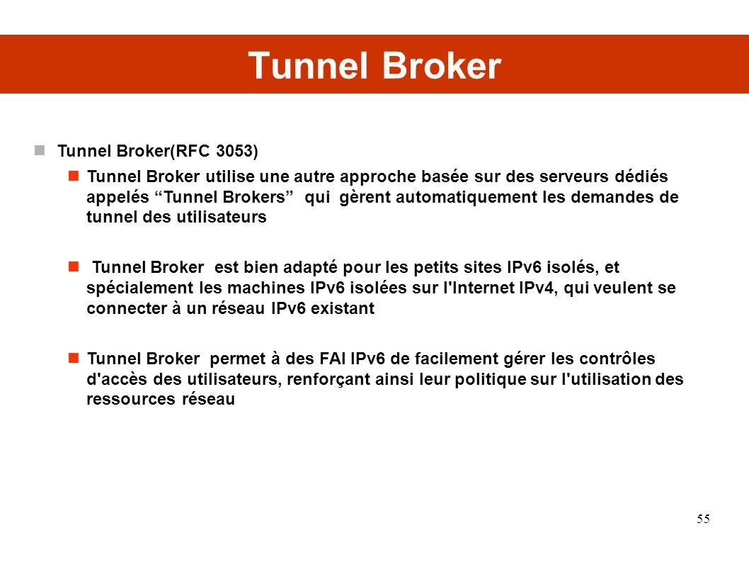 Tunnel Broker Tunnel Broker(RFC 3053) Tunnel Broker utilise une autre approche basée sur des serveurs dédiés appelés Tunnel Brokers qui gèrent automatiquement les demandes de tunnel des utilisateurs Tunnel Broker est bien adapté pour les petits sites IPv6 isolés, et spécialement les machines IPv6 isolées sur l Internet IPv4, qui veulent se connecter à un réseau IPv6 existant Tunnel Broker permet à des FAI IPv6 de facilement gérer les contrôles d accès des utilisateurs, renforçant ainsi leur politique sur l utilisation des ressources réseau 55