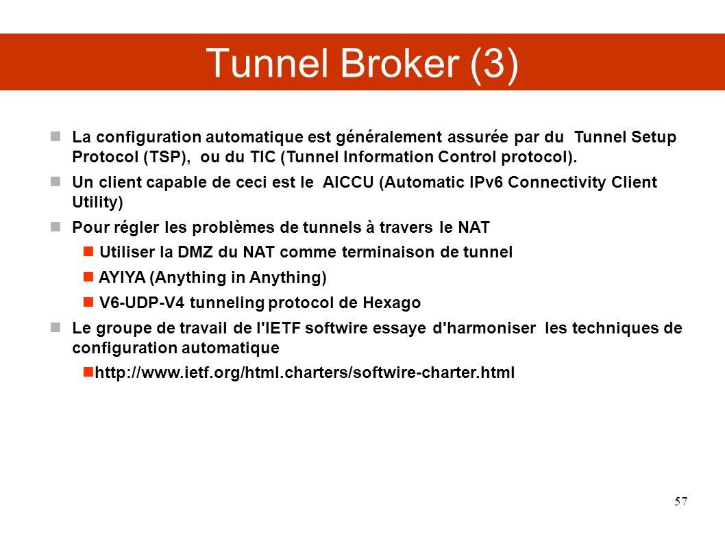 Tunnel Broker (3) La configuration automatique est généralement assurée par du Tunnel Setup Protocol (TSP), ou du TIC (Tunnel Information Control protocol).