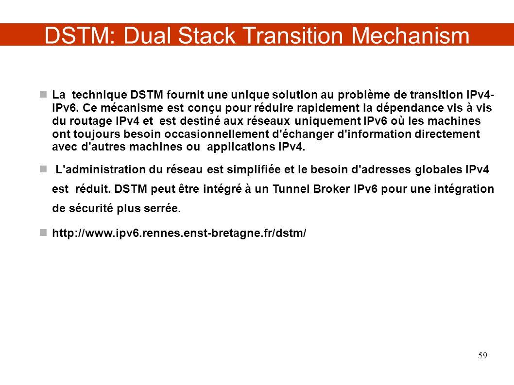 DSTM: Dual Stack Transition Mechanism La technique DSTM fournit une unique solution au problème de transition IPv4- IPv6. Ce mécanisme est conçu pour