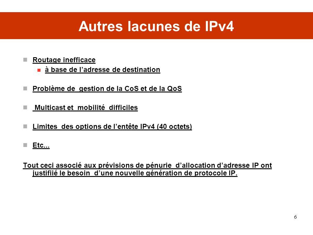Autres lacunes de IPv4 Routage inefficace à base de ladresse de destination Problème de gestion de la CoS et de la QoS Multicast et mobilité difficiles Limites des options de lentête IPv4 (40 octets) Etc...