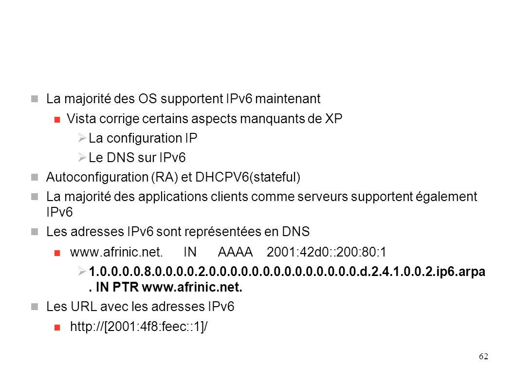 Applicatifs(1) La majorité des OS supportent IPv6 maintenant Vista corrige certains aspects manquants de XP La configuration IP Le DNS sur IPv6 Autoco
