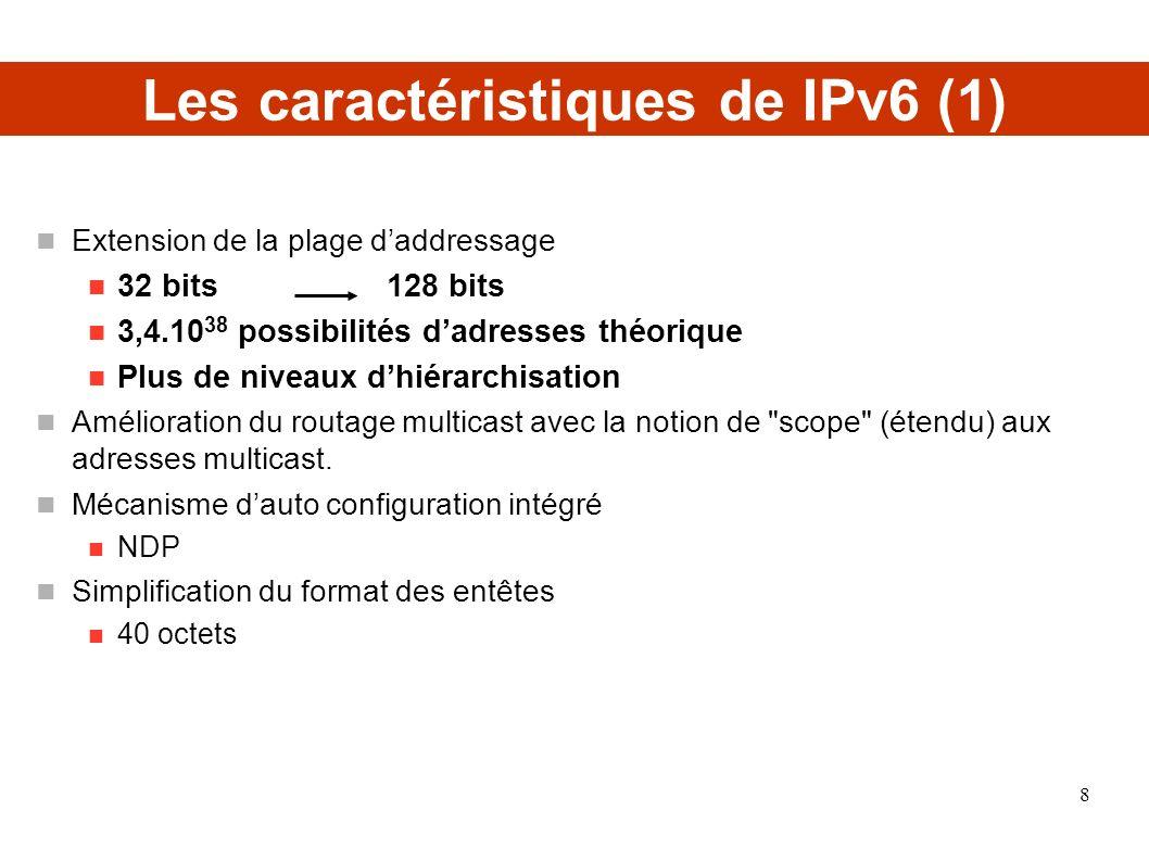 Les caractéristiques de IPv6 (2) Mobilité Intégration des fonctions mobiles Classification des paquets Amélioration de la gestion des extensions et des options de paquets Entête suivante (Next Header) Extension des fonctionnalités dauthentification et de confidentialité Sécurité de Communication Point à Point (pas de NAT) Intégration de IPSEC dans IPv6 9