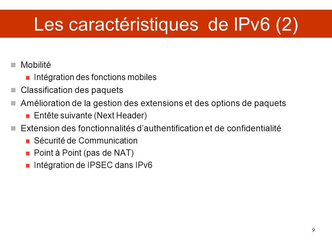 Les caractéristiques de IPv6 (2) Mobilité Intégration des fonctions mobiles Classification des paquets Amélioration de la gestion des extensions et de