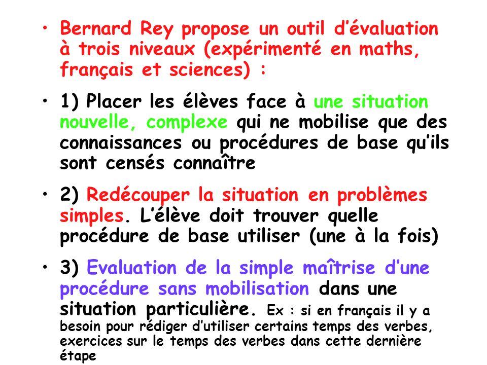 Bernard Rey propose un outil dévaluation à trois niveaux (expérimenté en maths, français et sciences) : 1) Placer les élèves face à une situation nouv
