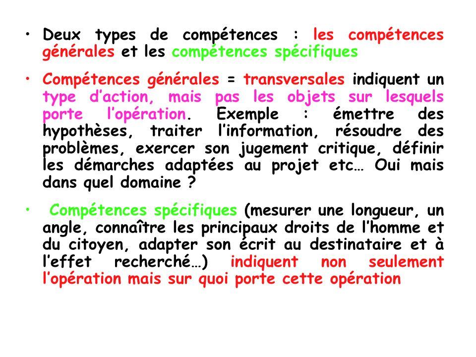 Deux types de compétences : les compétences générales et les compétences spécifiques Compétences générales = transversales indiquent un type daction,
