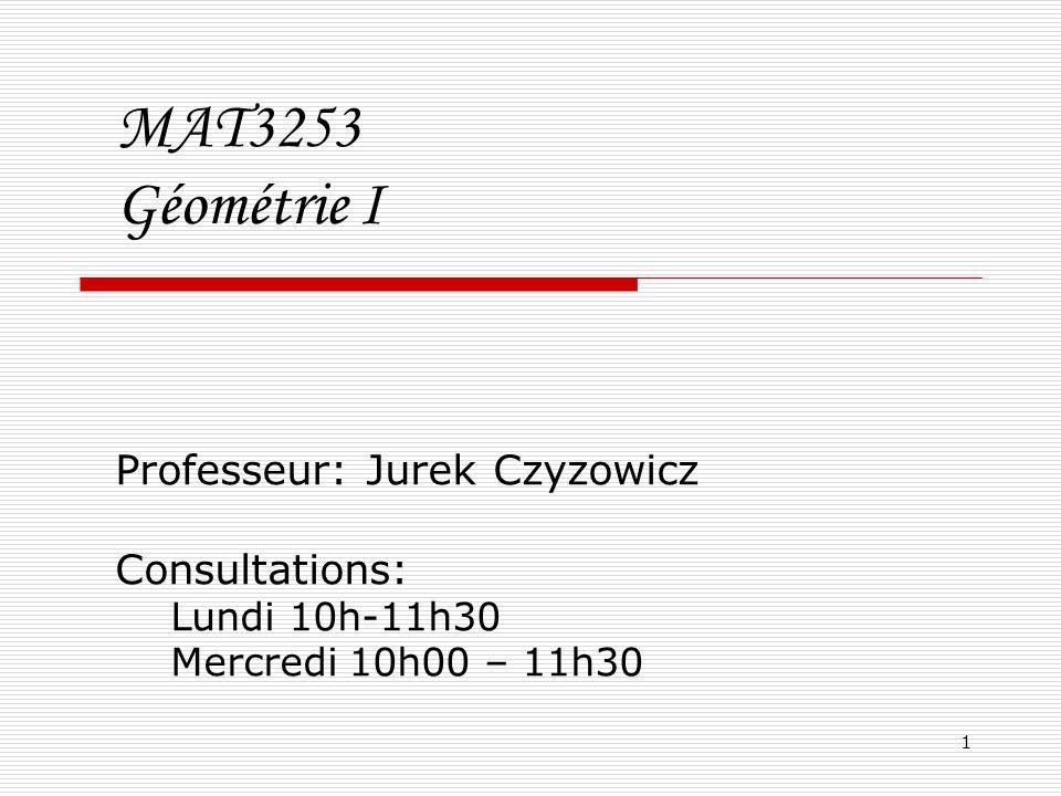 1 MAT3253 Géométrie I Professeur: Jurek Czyzowicz Consultations: Lundi 10h-11h30 Mercredi 10h00 – 11h30