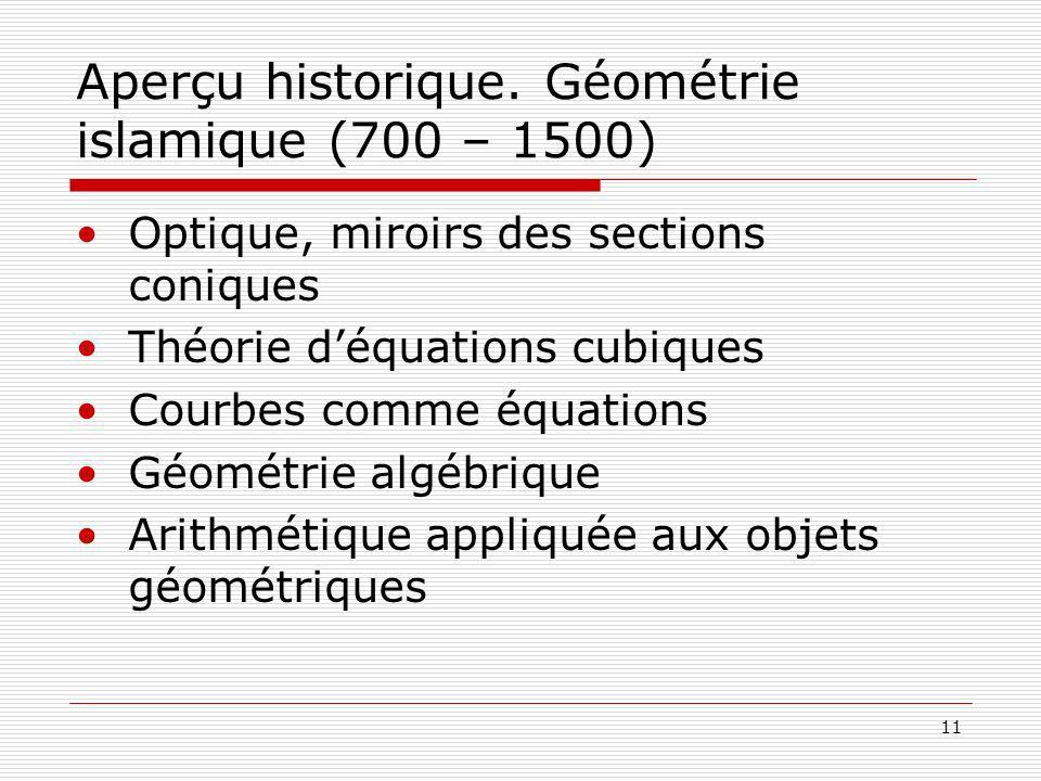 11 Aperçu historique. Géométrie islamique (700 – 1500) Optique, miroirs des sections coniques Théorie déquations cubiques Courbes comme équations Géom