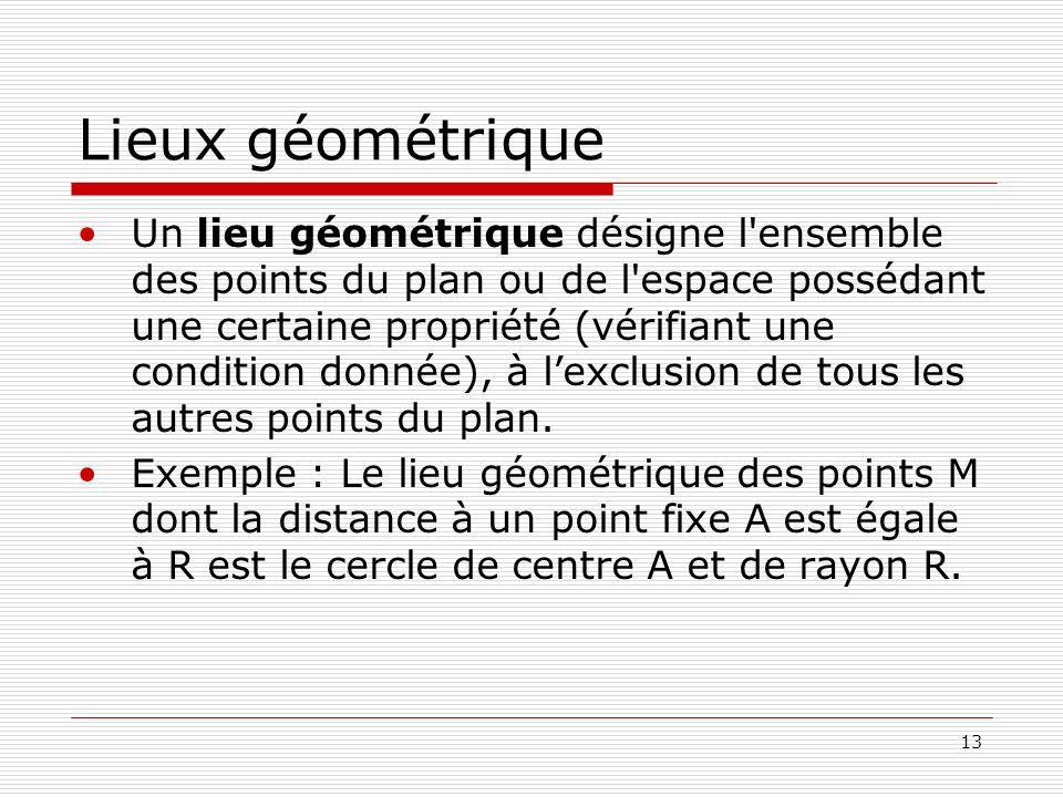 13 Lieux géométrique Un lieu géométrique désigne l ensemble des points du plan ou de l espace possédant une certaine propriété (vérifiant une condition donnée), à lexclusion de tous les autres points du plan.